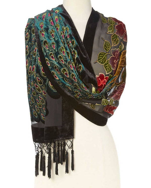VSG40B Silk & Velvet Shawl with Beads