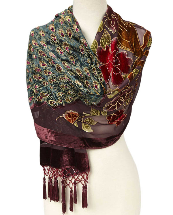 VSG40R Silk & Velvet Shawl with Beads