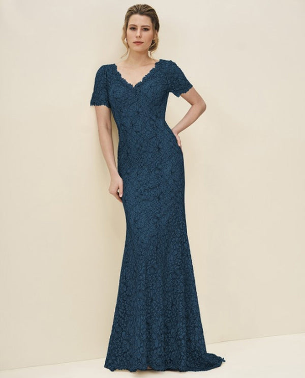 Jade Jasmine 195069 V Neck Lace Dress teal lace short sleeve plus size mother of the bride dress