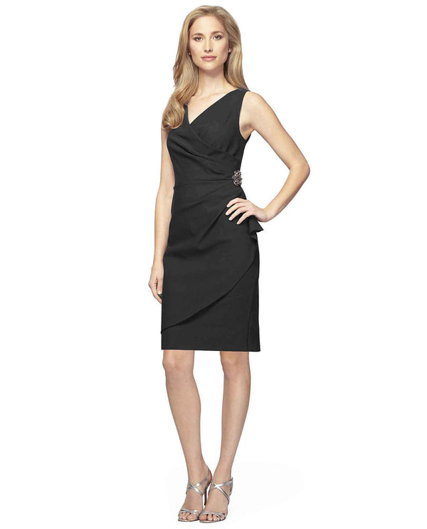 Charcoal Alex Evenings 434005 Womens Scuba Tank Dress plus size mother of the bride dress
