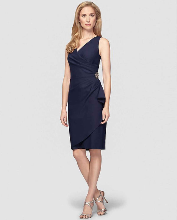 Navy Alex Evenings 434005 Womens Scuba Tank Dress short plus size mother of the bride dress