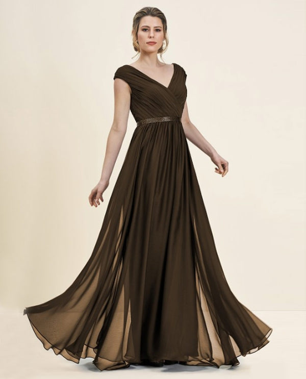 Espresso Jade J195056 Petite Cap Sleeve Full Skirt Mother of the Bride Dress