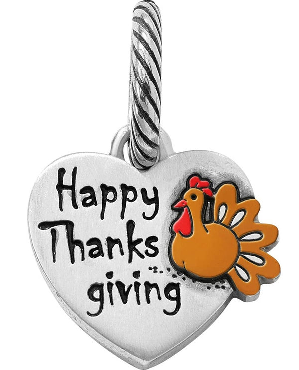 Brighton JC3653 Happy Thanksgiving Charm heart-shaped charm with turkey