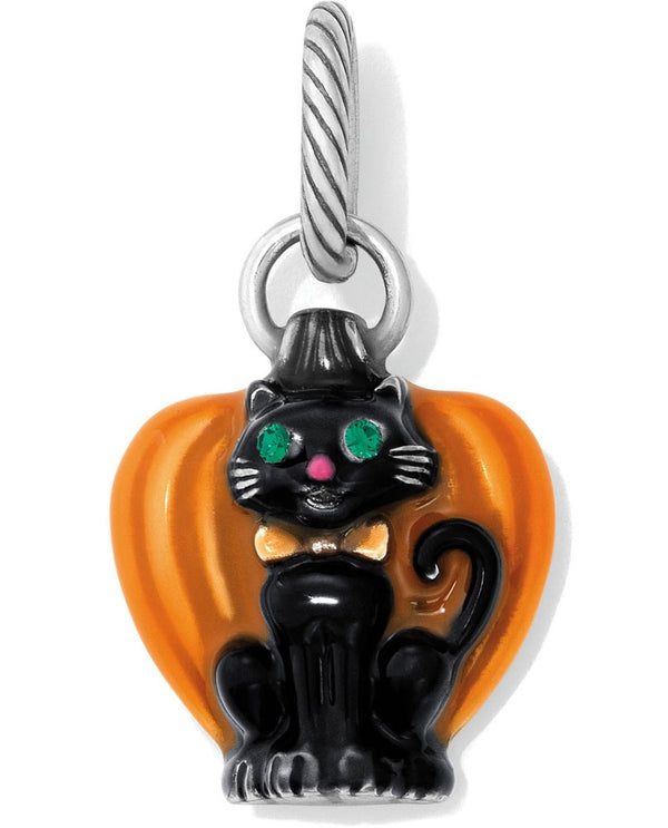 Brighton JC3413 Spooky Cat Charm black cat Halloween charm with a pumpkin