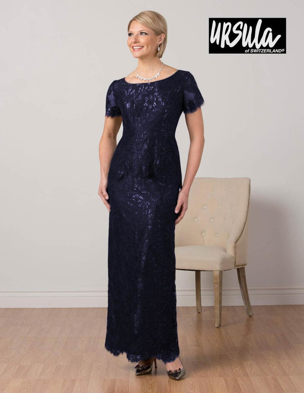 Midnight Ursula 63291 Womens Short Sleeve Lace Gown