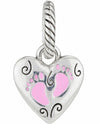 Brighton J9263A ABC Baby Charm heart shaped baby girl charm with pink footprints