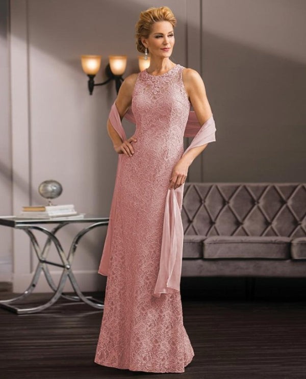 Rose Jade Couture K188058 Bejeweled Neck Dress pink halter top mother of the bride gown