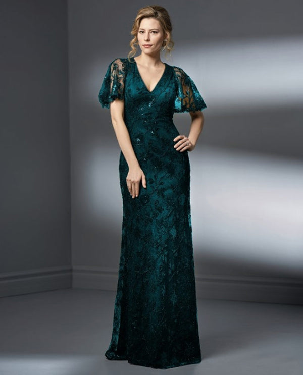 Teal Jade K198057 Butterfly Sleeve Dress with V neck