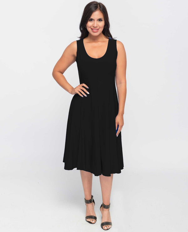 A603 Solid Jersey Dress Black
