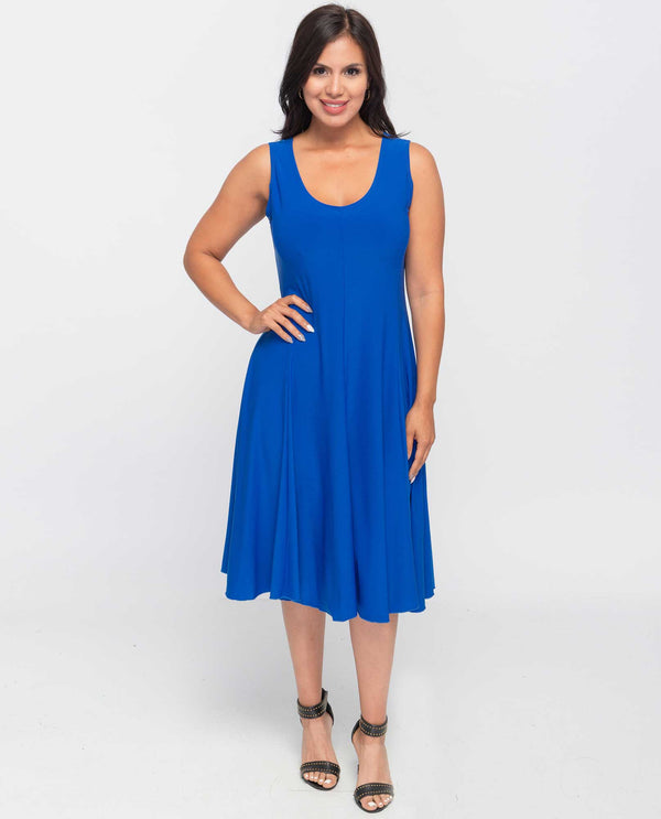 A603 Solid Jersey Dress Royal Blue