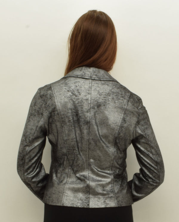 Insight NY BCJ8909 Faux Leather Moto Jacket Black Silver