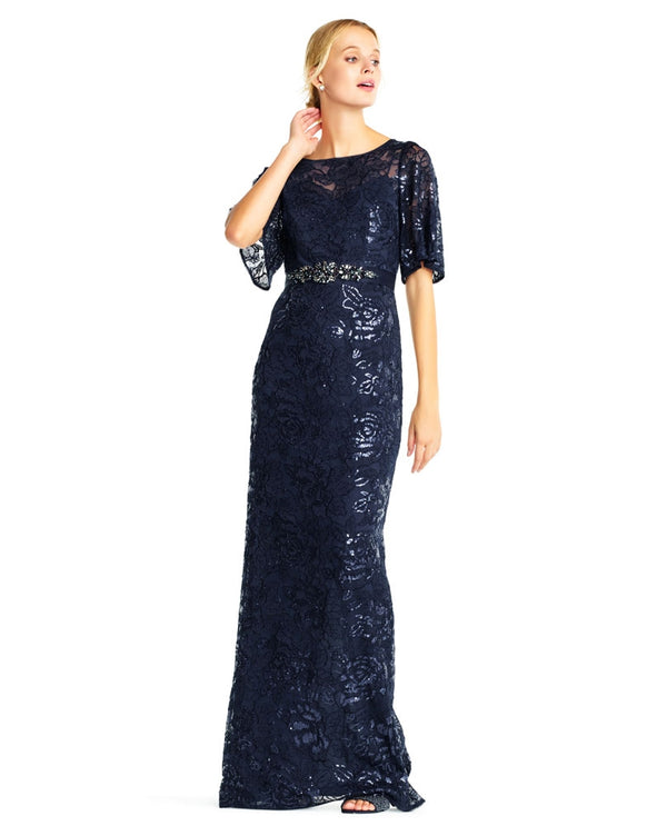 Adrianna Papell APE202529 Sequin Embroidered Dress midnight navy blue long sequin dress