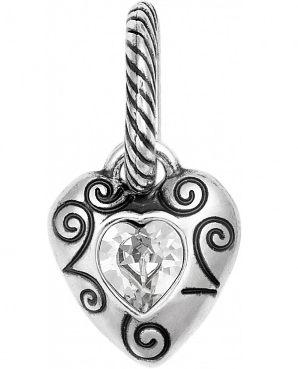 Brighton JC1240 Forever Together Heart Charm silver heart charm with a Swarovski crystal