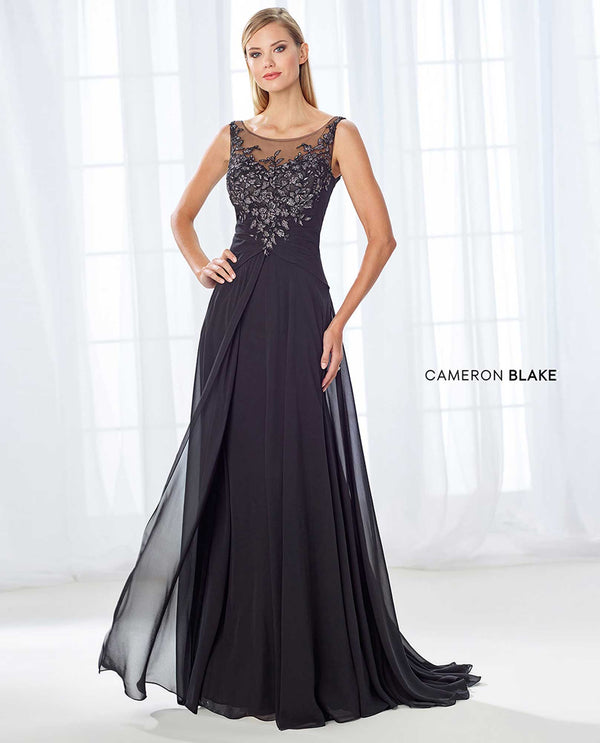118680 Black Cameron Blake Sleeveless Beaded Dress mother of the bride dress with shawl