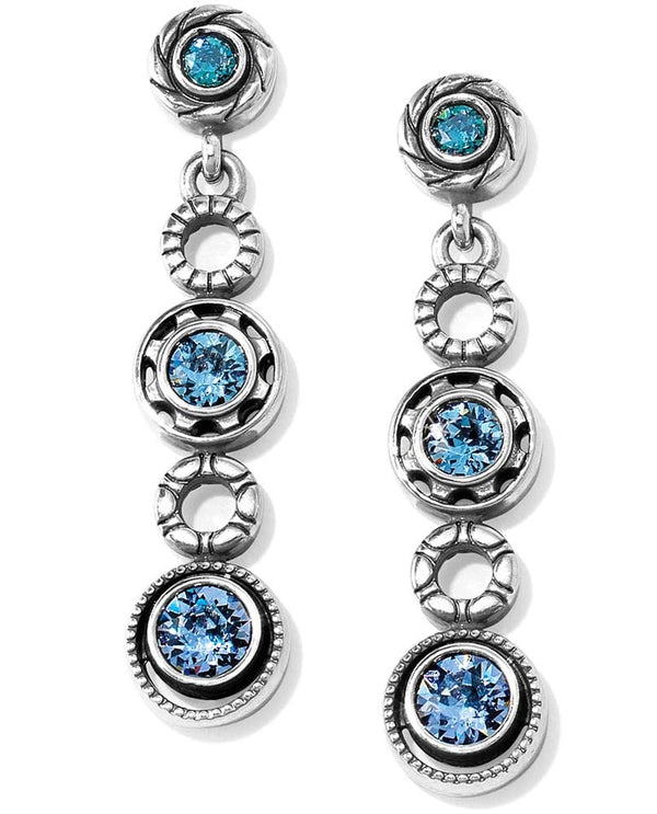 Silver-tanzanite Brighton JA2913 Halo Burst Post Drop Earrings with sparkling blue Swarovski