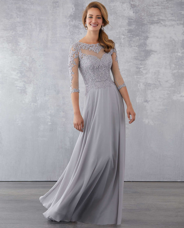 MGNY 71714 Beaded Lace On Net Dress platinum lace 3/4 sleeve A-line gown with beading