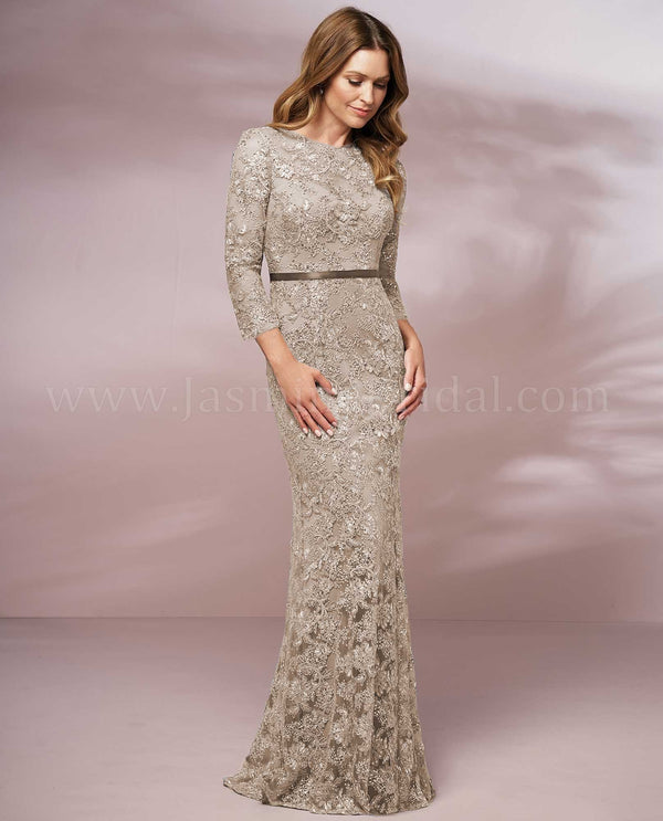 Latte Jade Jasmine J205016 Long Illusion Jewel Neckline Lace Dress mother of the bride