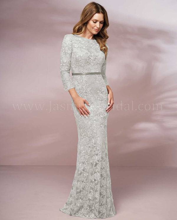 Ivory Jade Jasmine J205016 Long Illusion Jewel Neckline Lace Dress mother of the bride