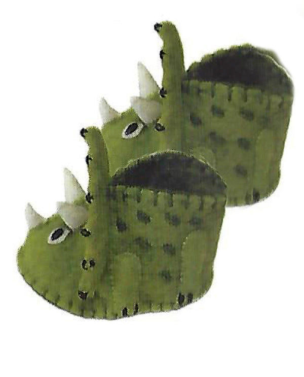 Silk Road Bazaar PN70 Zooties Baby Triceratops Slippers handmade wool dinosaur slippers