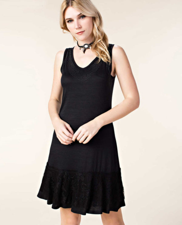 Black Vocal 16994D Ruffle Tank Dress