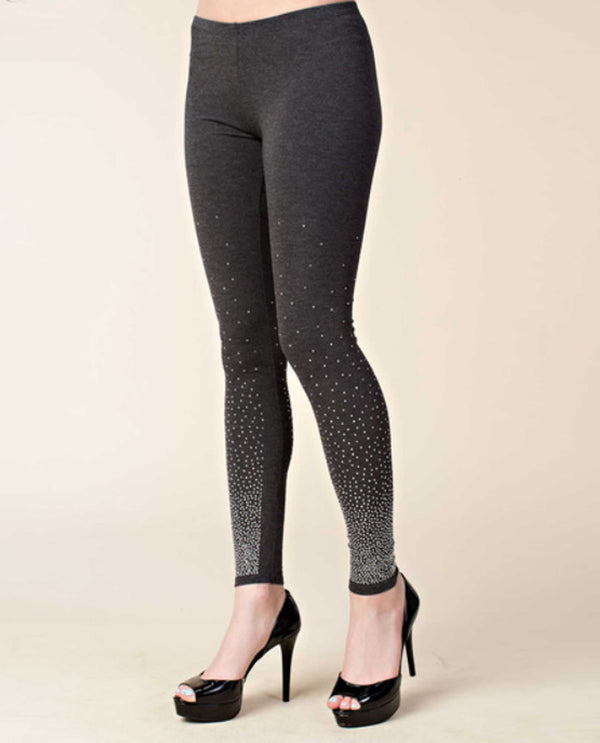 Charcoal Vocal 14466PI Leggings With Stones