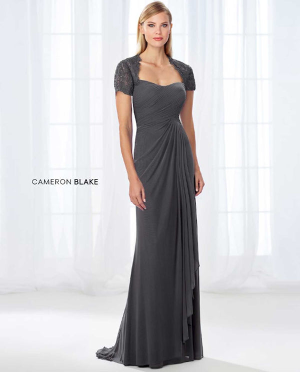 Cameron Blake 118681 Pleated Bodice Lace Dress Charcoal