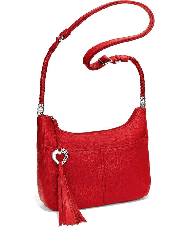 Brighton Style H4292L Lipstick Baby Barbados Crossbody Hobo bag with braided leather straps with heart tassle zipper and silver detail