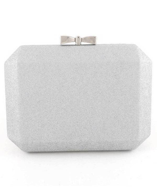 Silver Bow Clasp Evening Bag