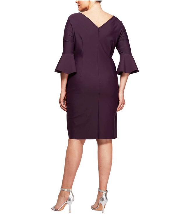 Aubergine Alex Evenings 434183 Scuba 3/4 Ruffle Sleeve Dress Plus