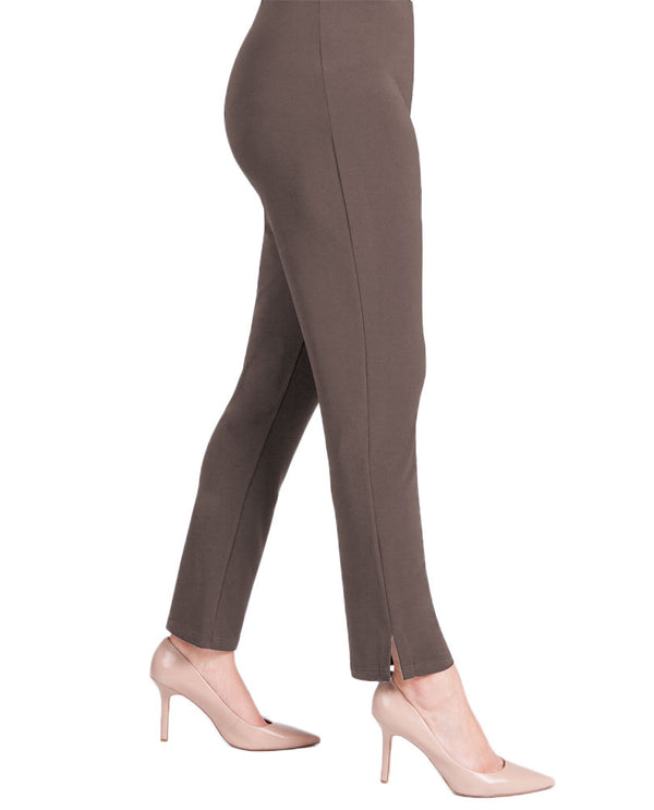 Sympli 2748MG Womens Narrow Pant Midi in mushroom elastic waist pant with side slits for style