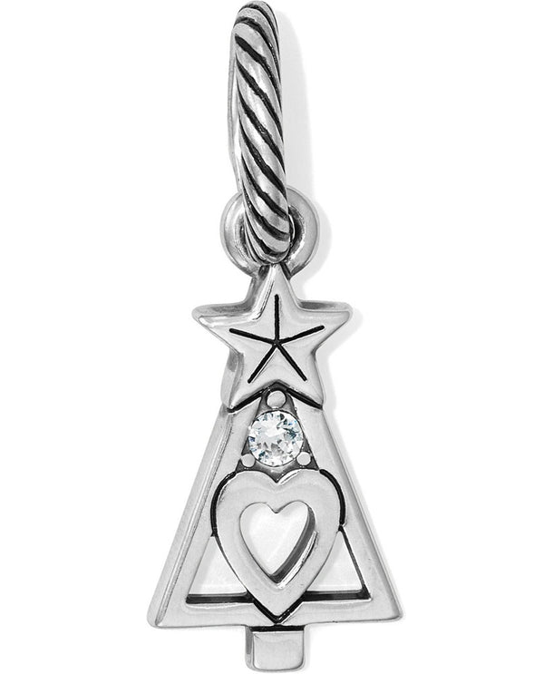 Silver Brighton Christmas Tree Star Charm JC3611 with a star and heart