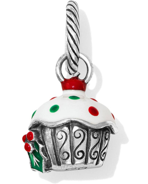 silver Brighton Christmas Cupcake Charm JC3483 with red and green icing