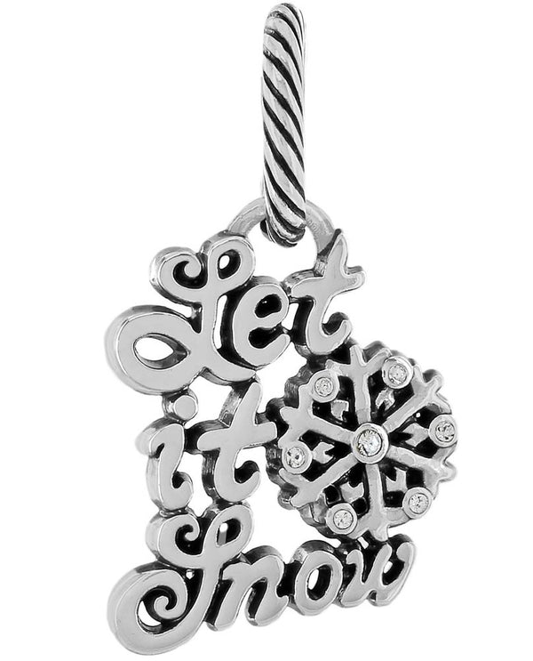 Brighton JC3761 Winter Wishes Charm silver charm that says let it snow with Swarovski