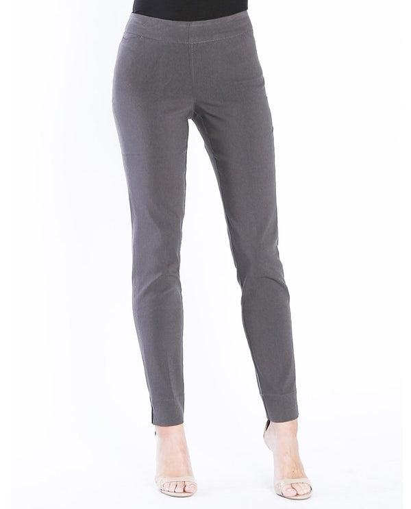 SlimSation M47710PM Slant Pocket Pants in grey have a tummy control panel and pull on waistband