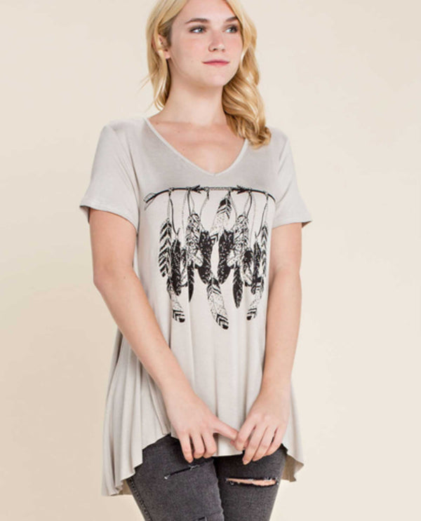 Putty Vocal 16470S Short Sleeve Feather Top