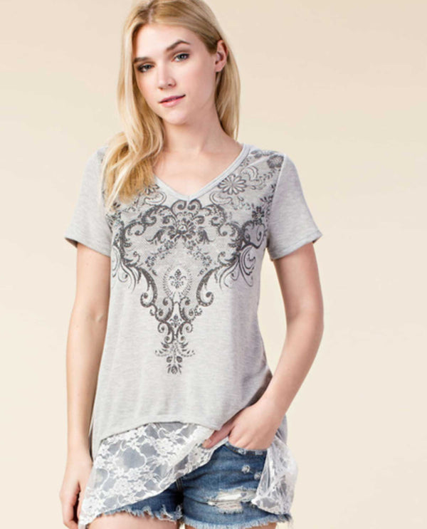 Vocal 17024S Print Top With Lace