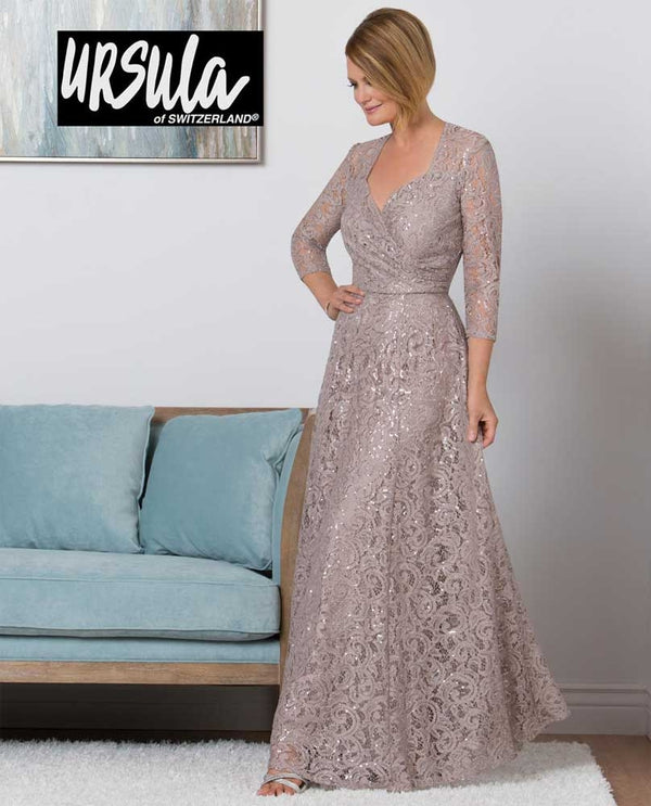 Ursula 31435 3/4 Sleeve Lace Gown 3/4 sleeve mauve lace mother of the bride gown