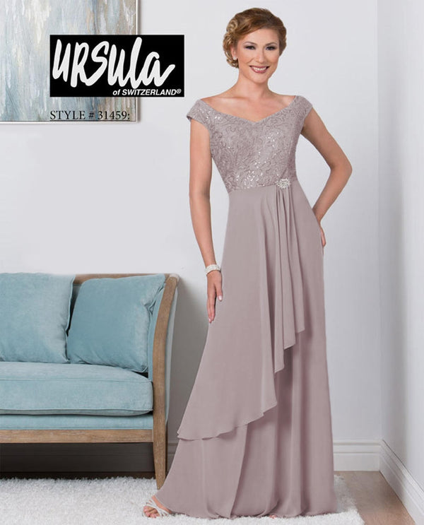 Ursula 31459 Off Shoulder Dress with Lace Bodice mauve long layered mother of the bride dress