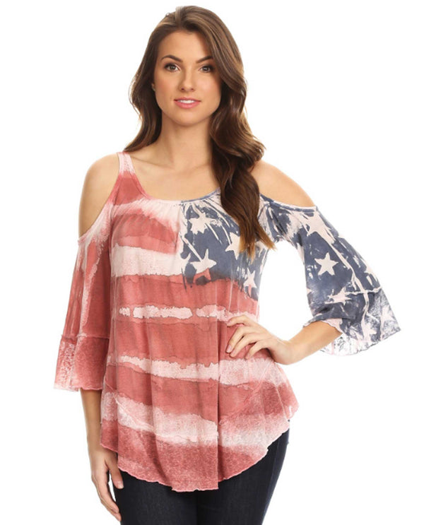 TMM41128 Multi T Party American Flag Cold Shoulder Top American flag top with bell sleeves