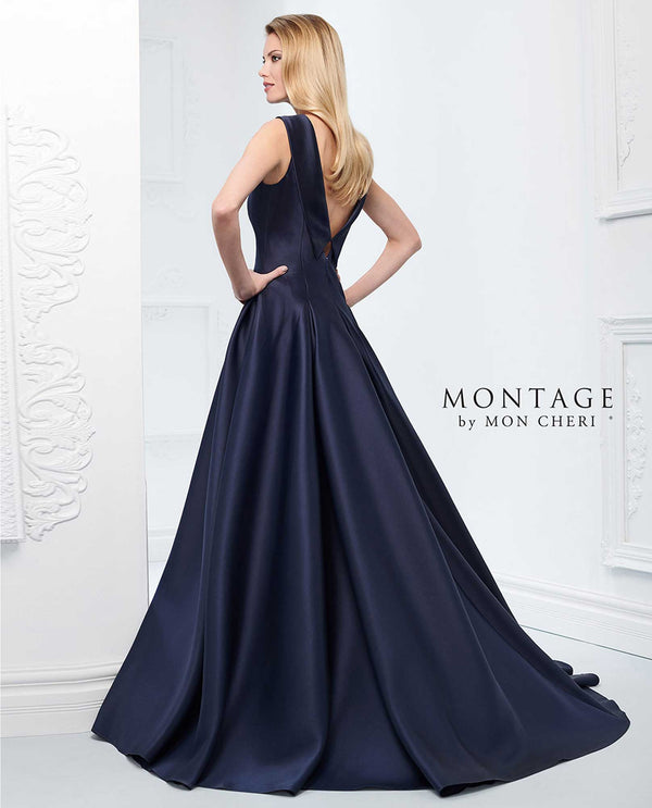 Navy Montage 218921 Mikado Ball Gown mother of the bride dress with matching shawl