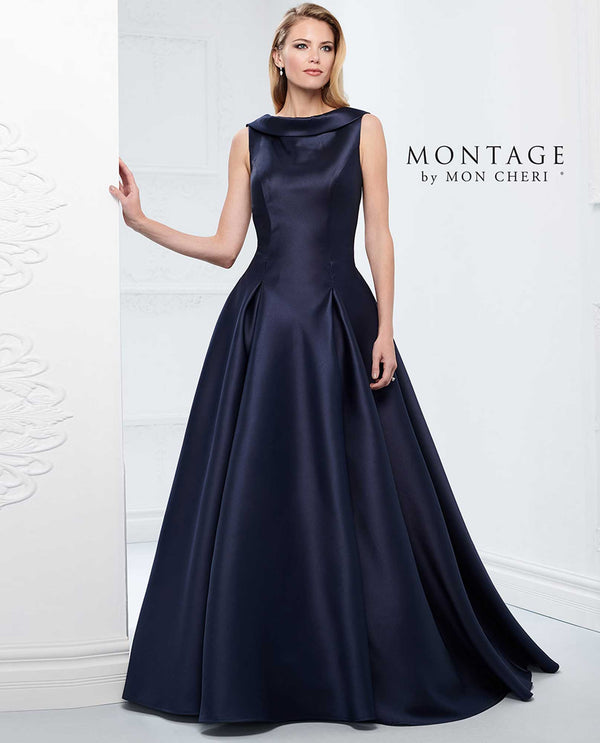 Navy Montage 218921 Mikado Ball Gown mother of the bride gown with full skirt