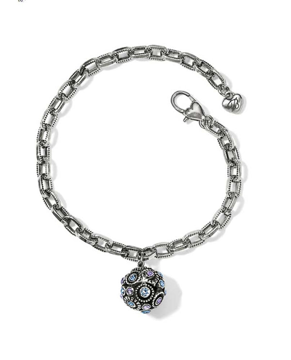 Brighton JF5223 Halo Sphere Bracelet in Silver-Tanzanite with a Swarovski sphere that matches twilight sky with linked chain