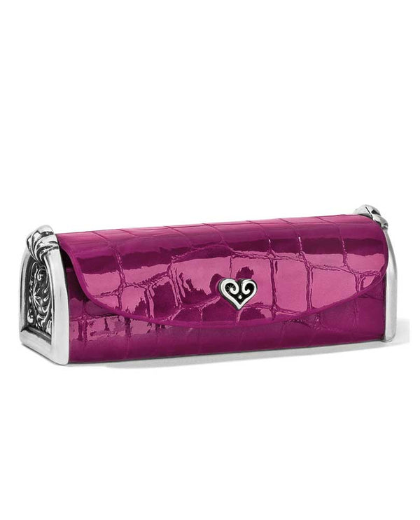 Guavaberry shiny leather Brighton E2051G B Wishes Lipstick Case with silver hardware
