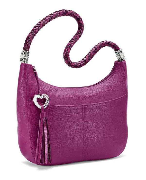 Gbry Brighton H204BG Barbados Ziptop Hobo luxe pink leather with heart shaped tassel zipper