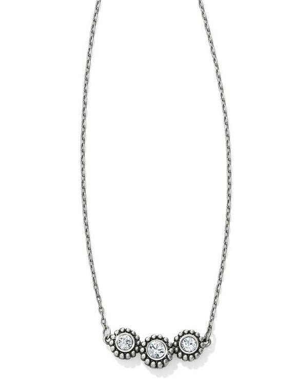 Silver Brighton JL8641 Twinkle Triple Stone Necklace has three Swarovski crystals linked