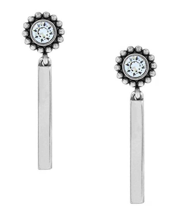 Silver Brighton JA4082 Twinkle Bar Post Drop Earrings vertical bars with Swarovski on top