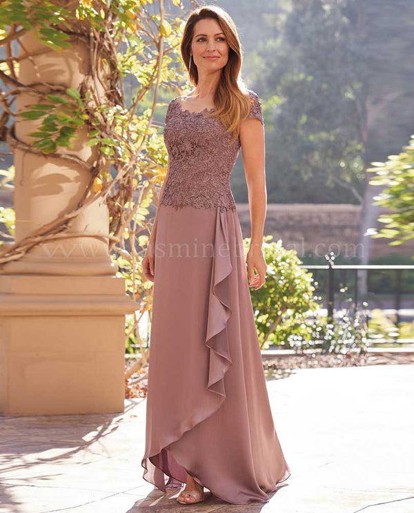 Cafe Jade K208056 Boat Neck with Lace Bodice Ruffle Skirt with chiffon layered skirt