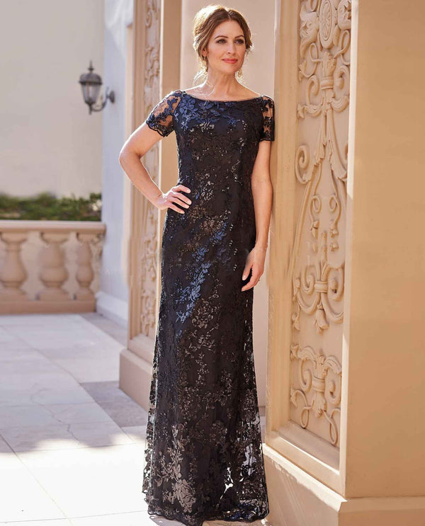 Jade Couture K208066 Sequin Floral Dress black sequin mother of the bride gown with lace sleeves
