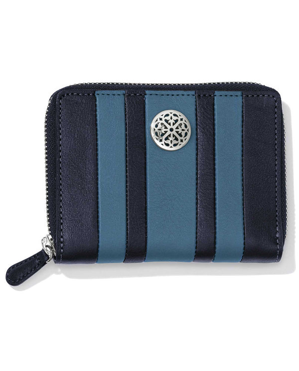 Leather Canyon Blue-ink Brighton T2238B Santorini Medium Wallet with sporty stripes