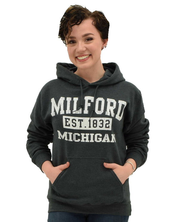 Graphite Milford MI Hoodie black comfortable women's hoodie that says Milford MI Est 1832